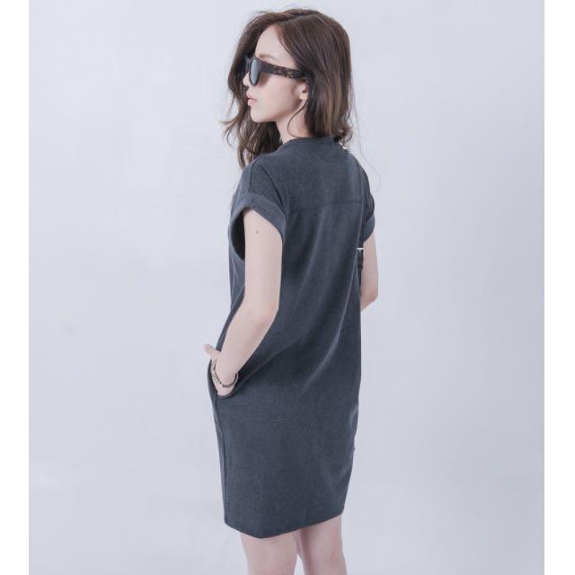 單寧感反折袖洋裝