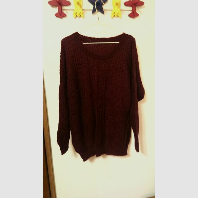 (降價)長袖長版酒紅色針織毛衣衫上衣