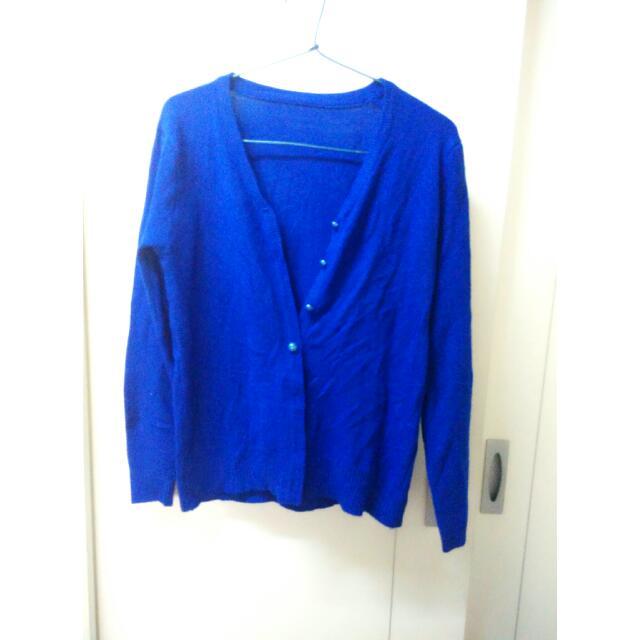 寶藍色細針織小外套