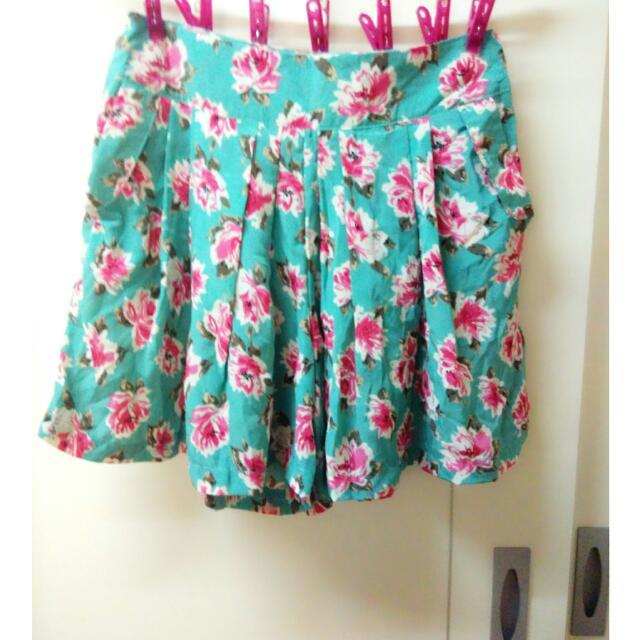 粉嫩綠色系花朵雪紡褲裙短褲