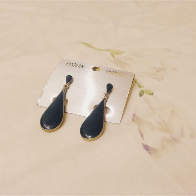 [二手]孔雀藍/水滴型/優雅個性耳針式耳環