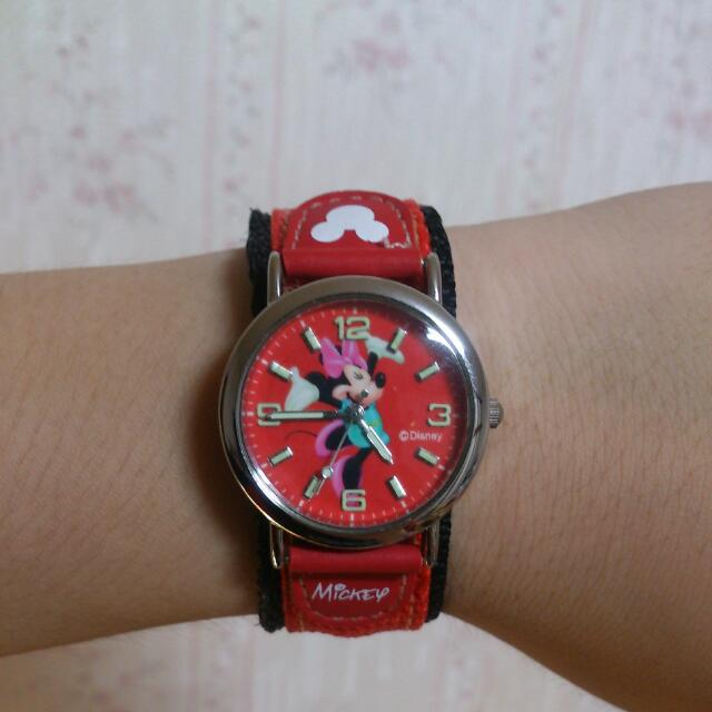 迪士尼 米妮復古風手錶