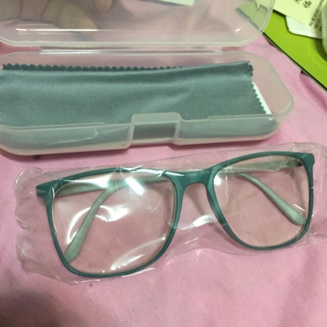 灰色 綠色 雙色撞色平光眼鏡 大方框