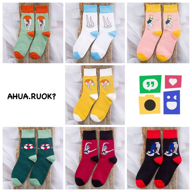 搞怪跳水女孩系列純棉襪💕 中筒襪 短襪子 可愛 卡通 動物 復古 搭配 阿華有事嗎