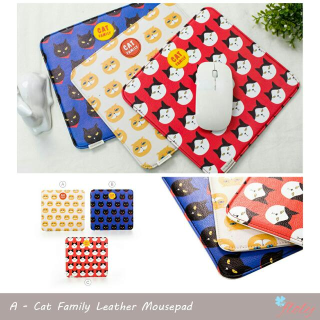 Cat Family Leather Mousepad