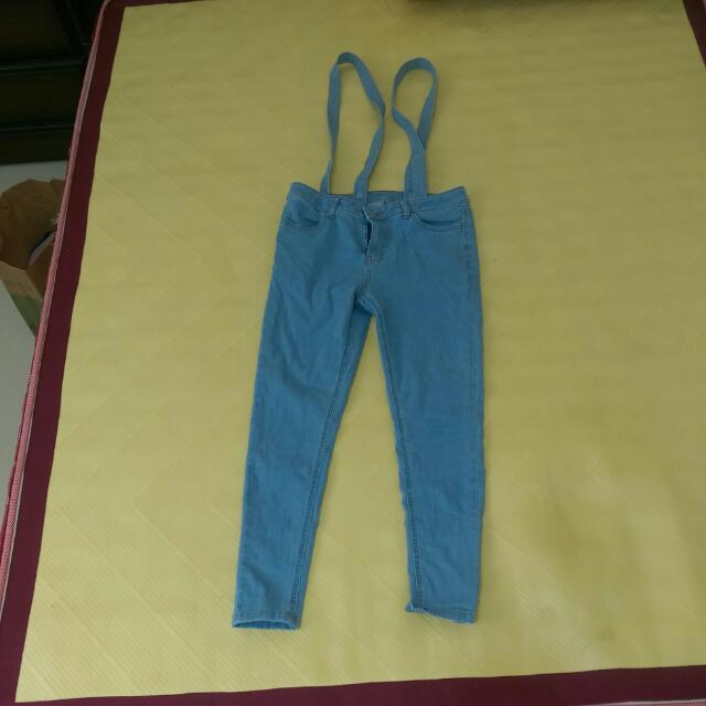 Lativ吊帶牛仔窄管褲 28-藍色