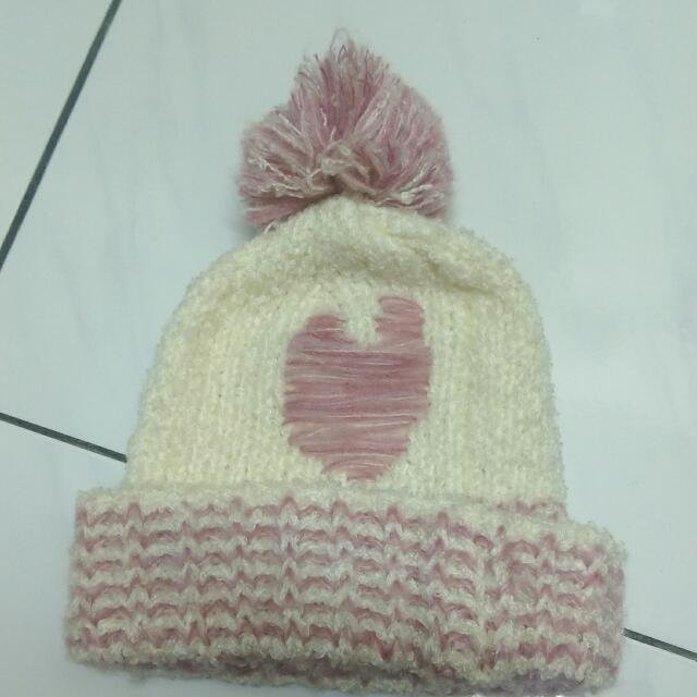LETS CASSE粉紅愛心毛球針織帽