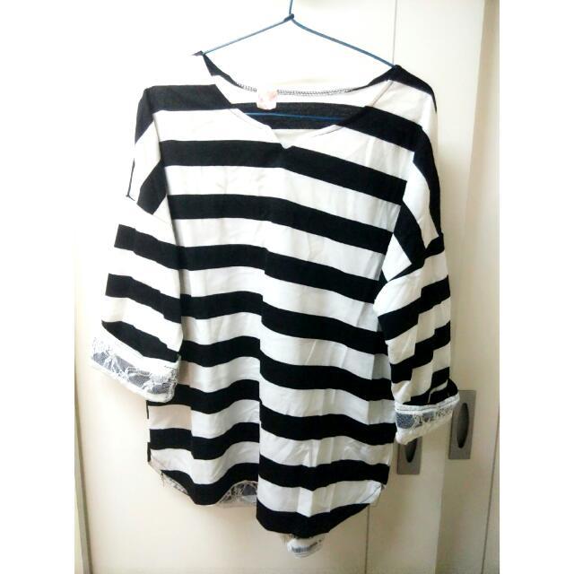 韓版小v領條紋寬鬆蕾絲上衣