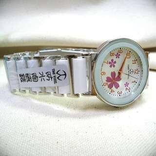 (全新) TIME WHEEL 晶鑽時刻櫻花陶瓷女錶(白)