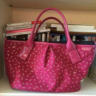Agnes b 日本限定桃粉紅手拿包