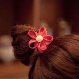 Orange Flower Hair Tie