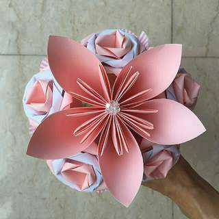 Rose + Flower Origami Hand Bouquet