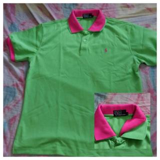 POLO- 亮綠假兩件式桃紅領 (L)