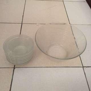玻璃碗 一大六小
