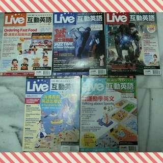 🚚 [二手雜誌]Live互動英語 2013年3月-7月no.143-147共五本(含雙效合一互動光碟)+另贈一本英文閱讀書