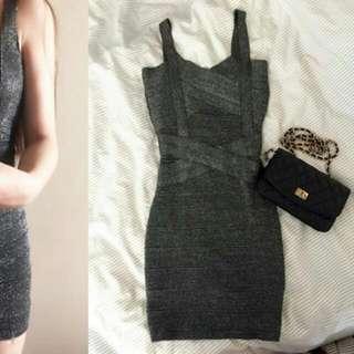全新 鐵灰銀蔥彈性針織緊身性感低胸爆乳繃帶夜店洋裝