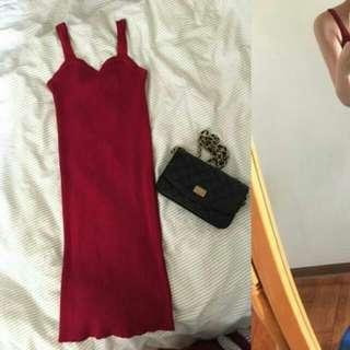 全新 酒紅色彈性針織直坑條紋夜店性感包臀洋裝