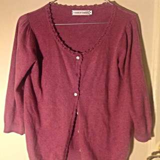 Friends Of Culture Cardigan Raspberry Colour Soft Non Itch Fabric