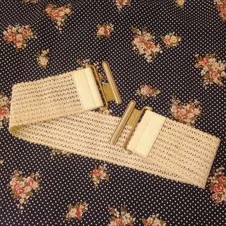 [二手]編織皮革拼接/上下鑲嵌五金/米白色系百搭款腰封