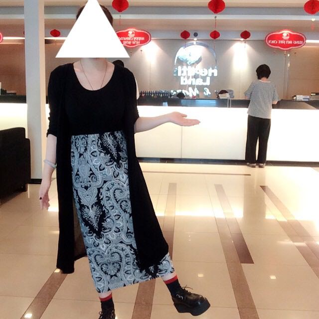 (出清)氣質民俗圖騰長裙