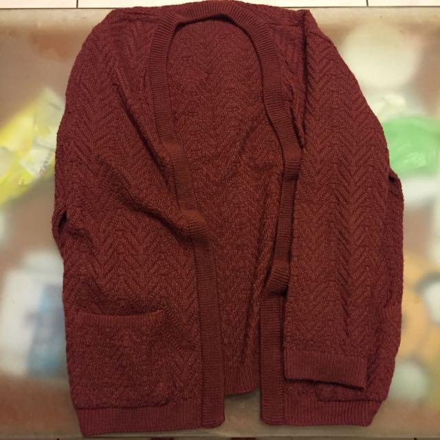 棗紅針織外套