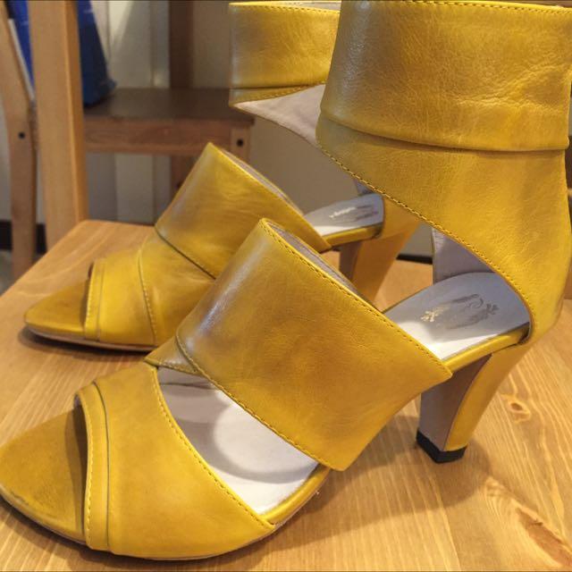 設計師款芥末黃高跟踝鞋