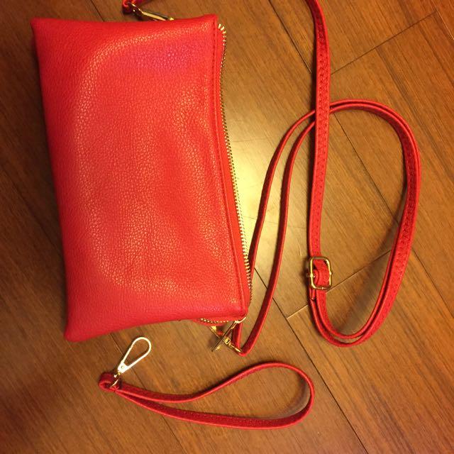 紅色手拿/斜背兩用小包