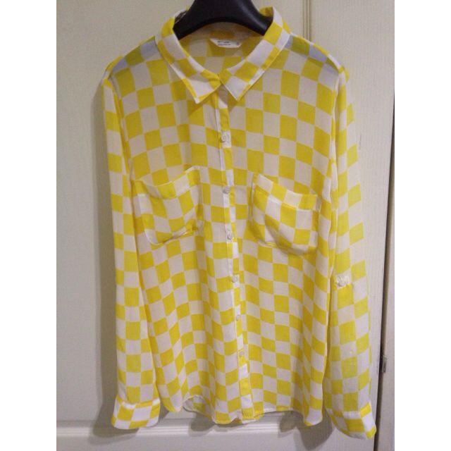鮮黃格子襯衫