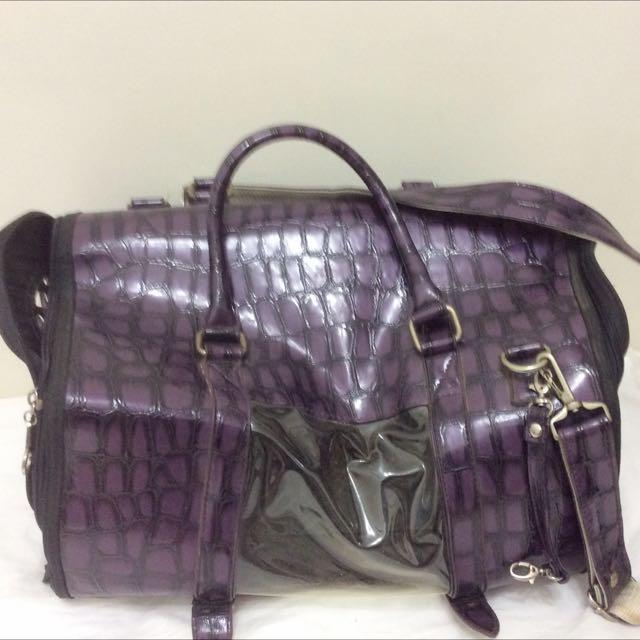 紫色 寵物貓狗 提包 附肩背帶 七成新