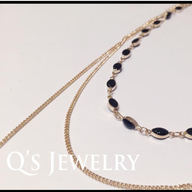 代購出清 韓國個性亮眼 百搭聖品 多層次 彩石項鍊 時尚精品 兩色 粉/黑 現貨