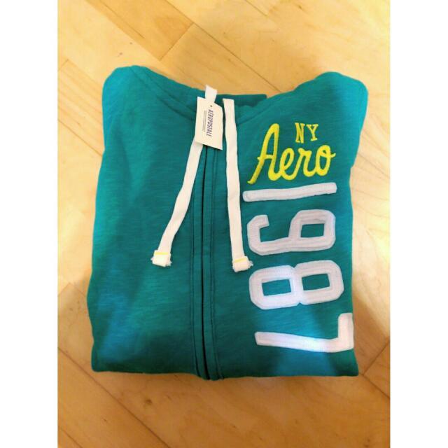 美國購回正品Aero連帽舖棉外套 全新m號吊牌還在✨ 是美美的藍綠色喲❤