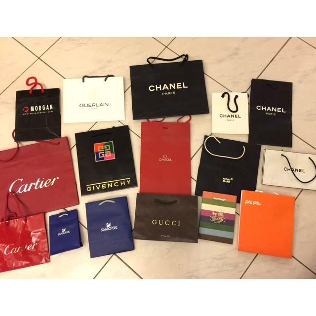 Chanel、Gucci、Cartier等名牌紙袋