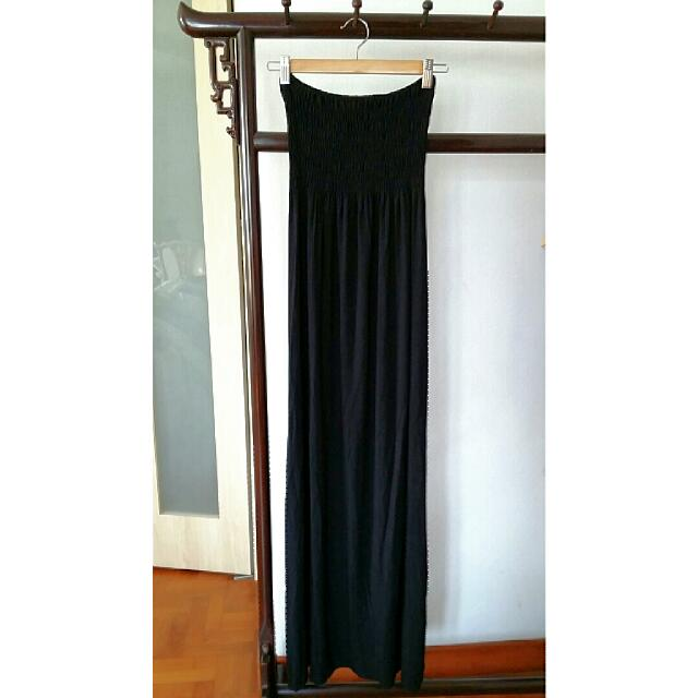 Lushous Black Strip-less Maxi Dress