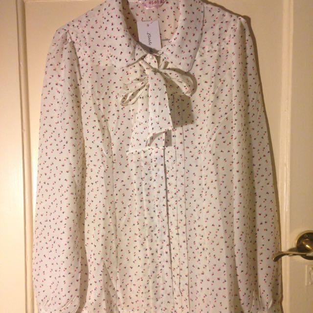 Pussy Bow Print Work Shirt Blouse Size 10