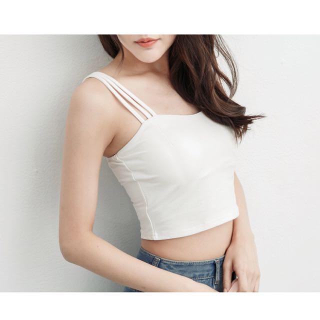 Super color 白色吊帶背心