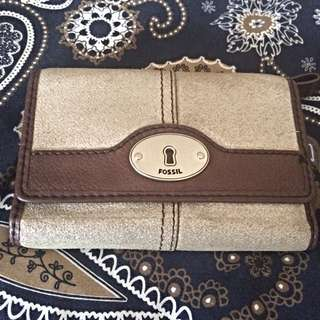 Authentic Fossil Wallet Metallic Silver Pewter