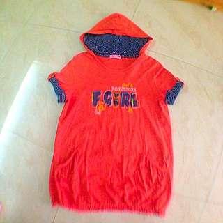 F.F.F.F 長版帽T(橘色)