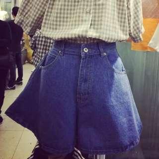 韓版復古高腰顯瘦牛仔短褲裙 含郵寄運費