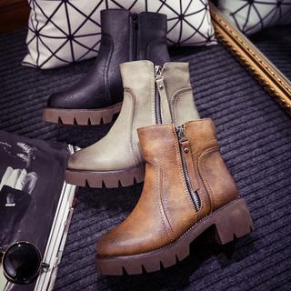 春秋新款歐美英倫粗跟短靴子2015圓頭防水台高跟馬丁靴側拉鍊女潮
