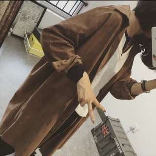 ❇️預購☑️新款韓版氣質款純色仿鹿皮絨中長款外套 翻領風衣