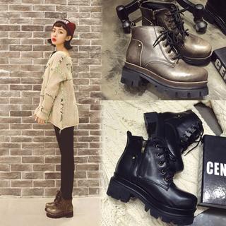 2015春秋新款英倫粗跟短靴女繫帶高跟復古機車馬丁靴粗跟短靴子