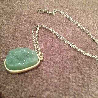 Green And Gold Druzy Pendant Necklace
