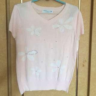 二手專櫃 粉色水鑽針織上衣