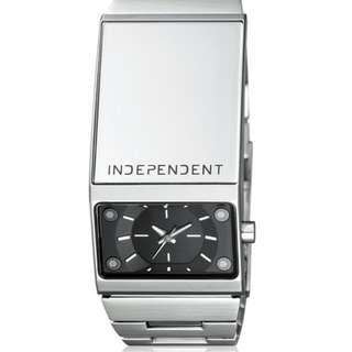 Citizen副牌INDEPENDENT 復古搖滾時尚個性腕錶-IP銀/26mm