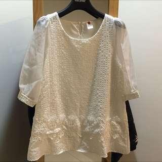 含郵100元白色蕾絲公主袖氣質長版上衣