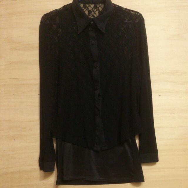黑色雪紡蕾絲透膚襯衫