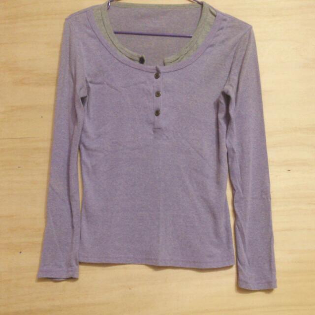 假兩件羅蘭紫開衩領口棉質長袖上衣