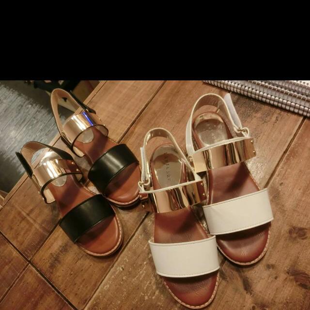 金片雙帶平底鞋