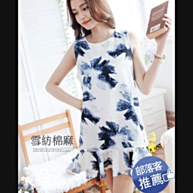全新-藍色潑墨削肩小洋裝