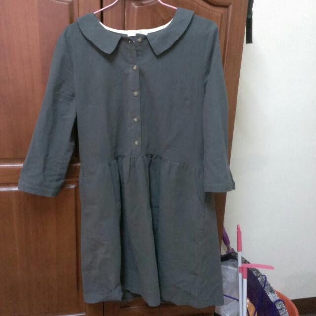 日系灰綠棉麻圓領洋裝